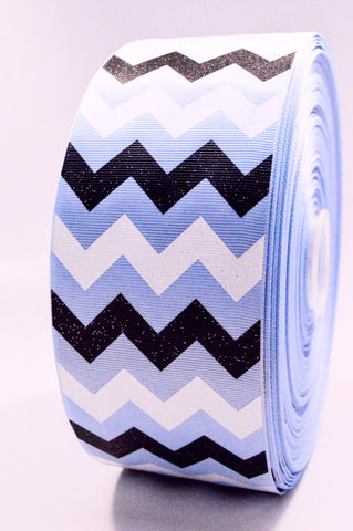 "3"" Lt. Blue Black and White Glitter Chevron Striped Grosgrain Cheer Bow Ribbon"