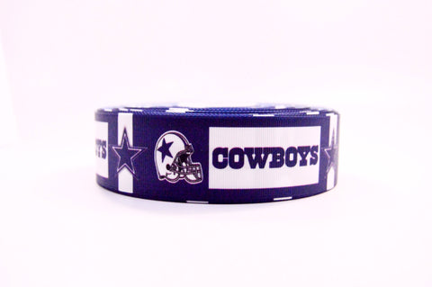 "1.5"" Wide Dallas Cowboys Blocks and Stars Printed on Grosgrain Ribbon"