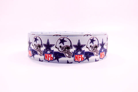 "1.5"" Wide Dallas Cowboys Helmets Printed on Grosgrain Ribbon"