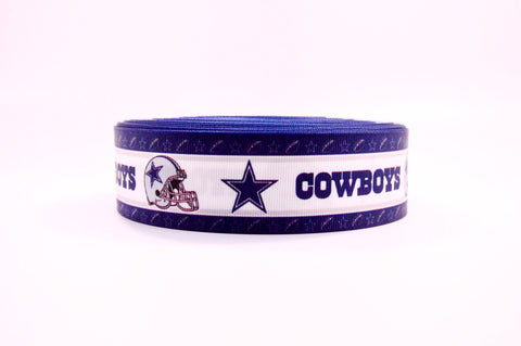 "1.5"" Wide Dallas Cowboys Printed on White Grosgrain Cheer Bow Ribbon"