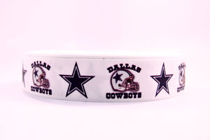 "1.5"" Wide White Ribbon and Dallas Cowboys Printed on Grosgrain Ribbon"