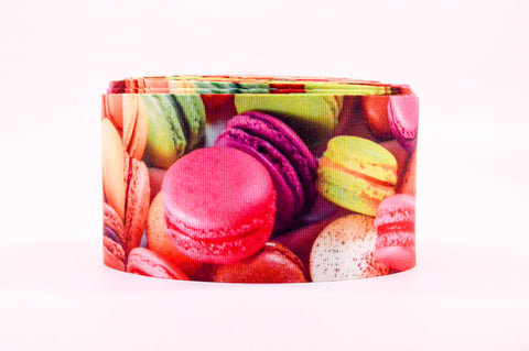 "3"" Wide Macaroon Cookies Printed White Grosgrain Cheer Bow Ribbon"