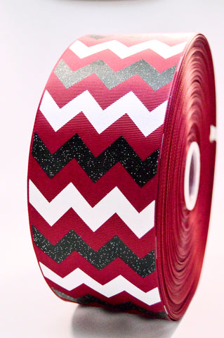 "3"" Maroon Black and White Glitter Chevron Striped Grosgrain Cheer Bow Ribbon"