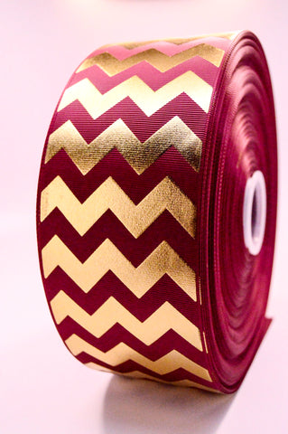 "3"" Maroon and Gold Foil Chevron Striped Grosgrain Cheer Bow Ribbon"