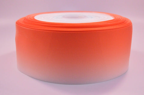 "3"" Wide Orange Ombre Printed on White Grosgrain Ribbon"