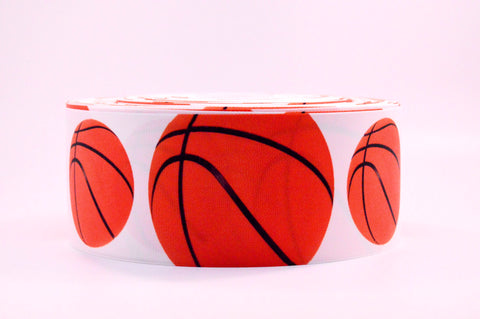 "3"" Wide Big Basketballs Printed on Grosgrain Cheer Bow Ribbon"