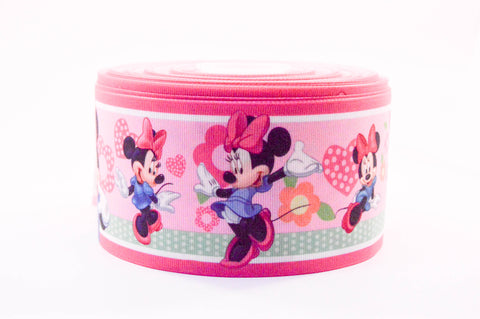 "3"" Wide Dancing Pink Minnie Printed on Grosgrain Cheer Bow Ribbon"