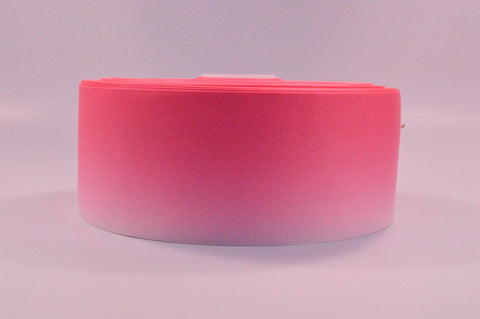 "3"" Wide Pink Ombre Printed on White Grosgrain Ribbon"