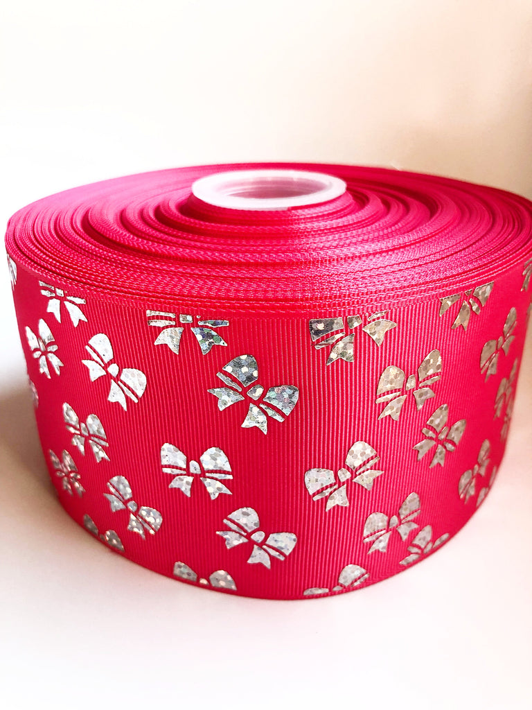 "3"" Bright Pink and Silver Foil Bows Printed on Grosgrain Cheer Bow Ribbon"