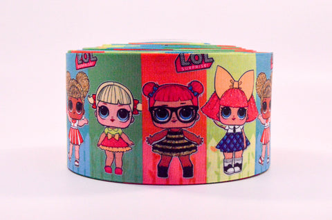 "3"" Wide Block LOL Dolls Printed on Grosgrain Cheer Bow Ribbon"