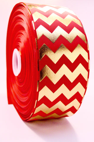 "3"" Red and Gold Foil Chevron Striped Grosgrain Cheer Bow Ribbon"