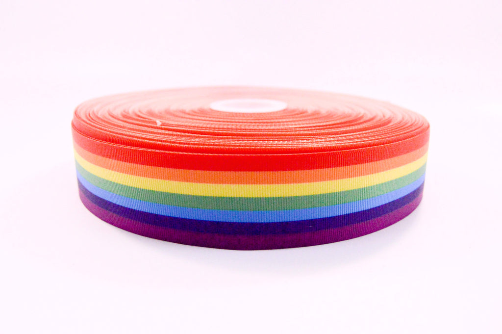 "1.5"" Wide New Rainbow Print on White Grosgrain Cheer Bow Ribbon"
