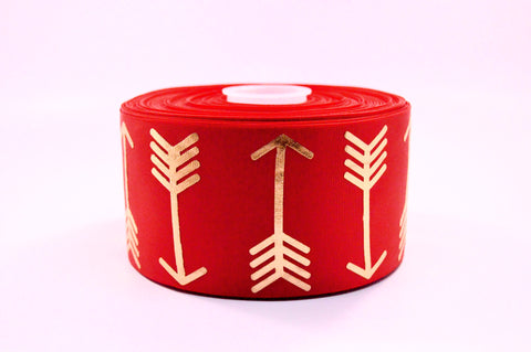 "3"" Red and Gold Foil Arrows Grosgrain Cheer Bow Ribbon"