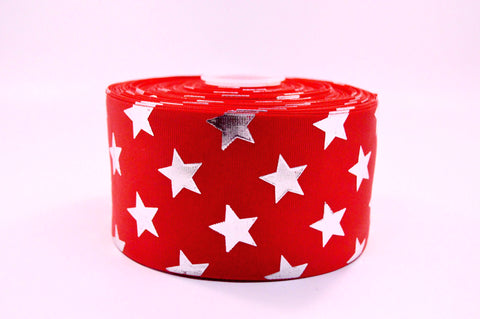 "3"" Red and Silver Foil STARS Grosgrain Cheer Bow Ribbon"