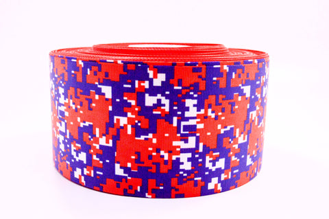 "3"" Wide Blue and Red Digital Camo Printed on Grosgrain Cheer Bow Ribbon"