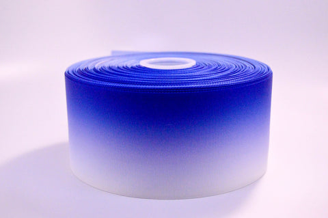 "3"" Wide Royal Blue Ombre Printed on White Grosgrain Ribbon"