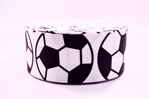 "3"" Wide Big Soccerballs on Grosgrain Cheer Bow Ribbon"