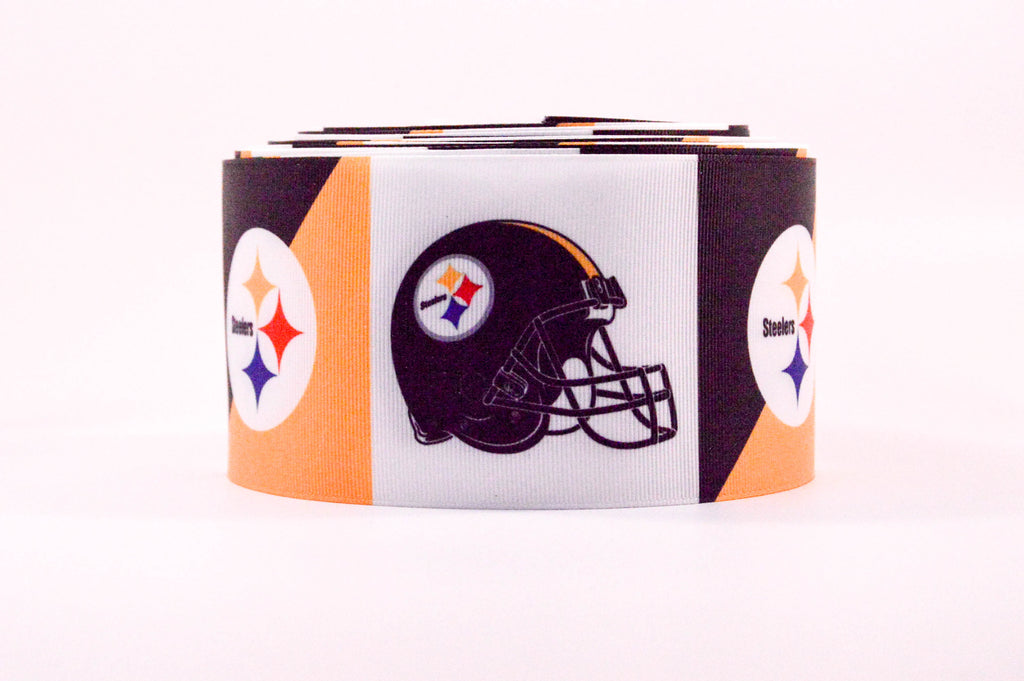"3"" Wide Pittsburgh Steelers Printed on White Grosgrain Cheer Bow Ribbon"