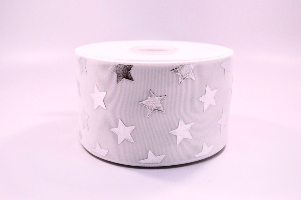 "3"" White and Silver Foil STARS Grosgrain Cheer Bow Ribbon"
