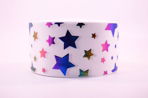 "3"" Wide White with Rainbow Foil Stars Printed on White Grosgrain Ribbon"