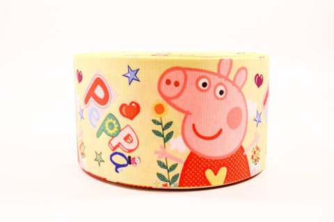"3"" New Yellow Peppa Pig Printed on Grosgrain Cheer Bow Ribbon"