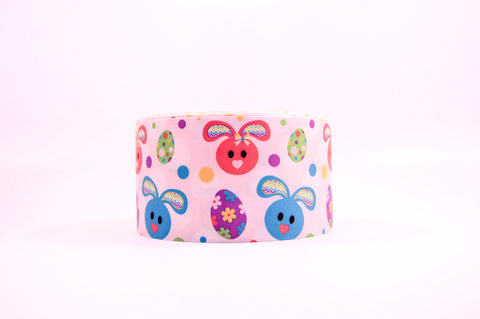 "3"" Wide Bunny and Eggs Printed on Grosgrain Cheer Bow Ribbon"