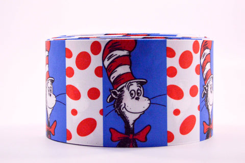 "3"" Pattern Dr. Seuss Cat and Dots Printed on Cheer Bow Ribbon"