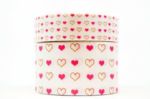"1.5"" Wide Pink and Gold Hearts Printed on White Grosgrain Cheer Bow Ribbon"