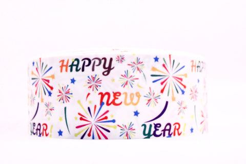 "3"" Wide Happy New Year Printed on White Grosgrain Cheer Bow Ribbon"