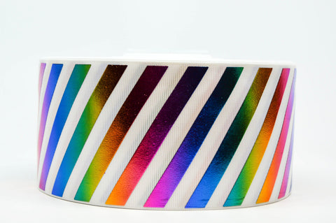 "3"" Striped Rainbow Hologram Foil Design Printed on Grosgrain Cheer Bow Ribbon"