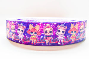 "1.5"" Wide Blue and Purple Galaxy LOL Dolls Printed on Grosgrain Cheer Bow Ribbon"