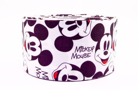 "3"" Wide Black and White Mickey Printed on Grosgrain Cheer Bow Ribbon"