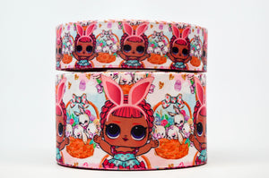 "1.5"" Wide Easter Basket Bunnies LOL Dolls Printed on Grosgrain Cheer Bow Ribbon"