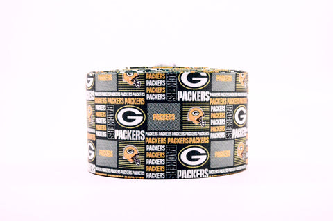 "3"" Wide Collage Greenbay Packers Printed on White Grosgrain Cheer Bow Ribbon"