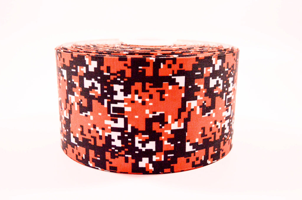 "3"" Wide Orange, Black and Whtie Digital Camo Printed on Grosgrain Cheer Bow Ribbon"