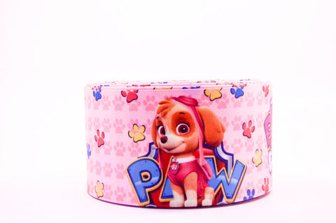 "3"" Pink Paw Patrol Printed on White Grosgrain Cheer Bow Ribbon"