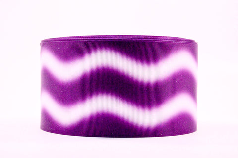 "3"" Wide Purple Ombre Waves Printed on White Grosgrain Ribbon"