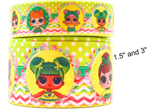 "1.5"" Wide Spring Green LOL Dolls Printed on Grosgrain Cheer Bow Ribbon"
