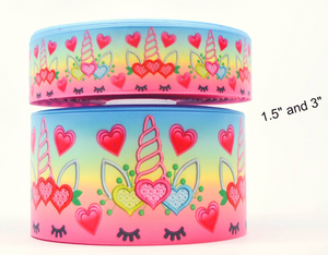 "1.5"" Wide Unicorns and Hearts Printed on White Grosgrain Cheer Bow Ribbon"