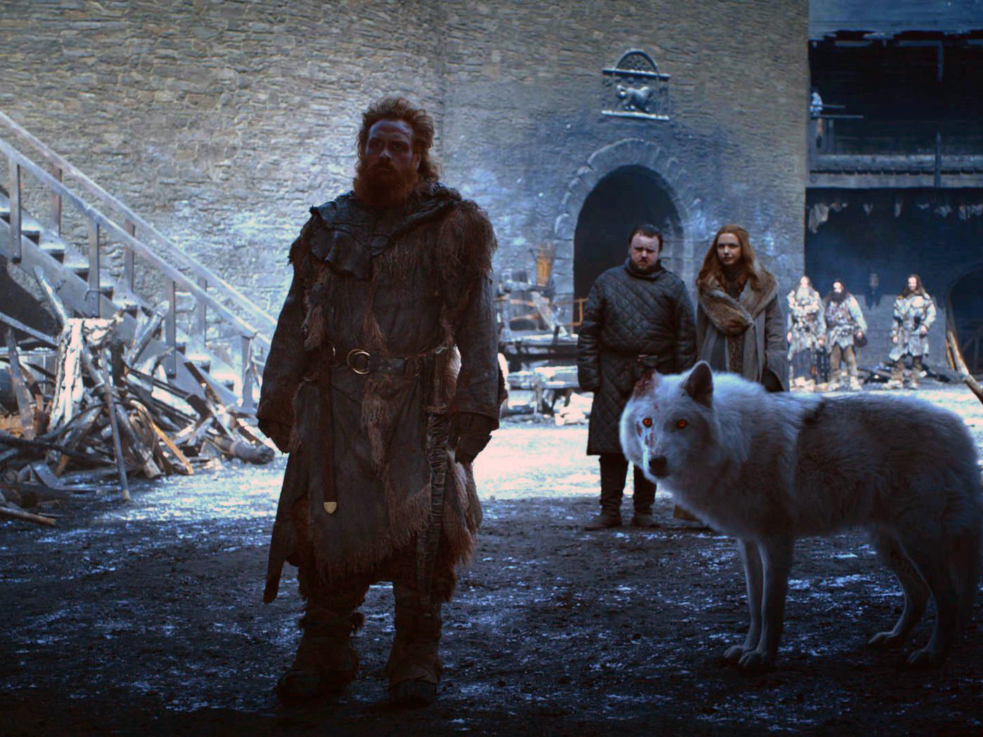 Game Of Thrones Sean 8 episode 4 Tormund Giantsbane Ghost Dire Wolf