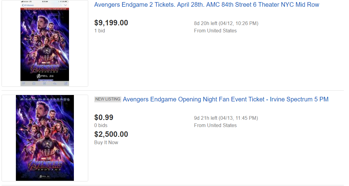 Avengers Endgame Ebay Ticket Sales