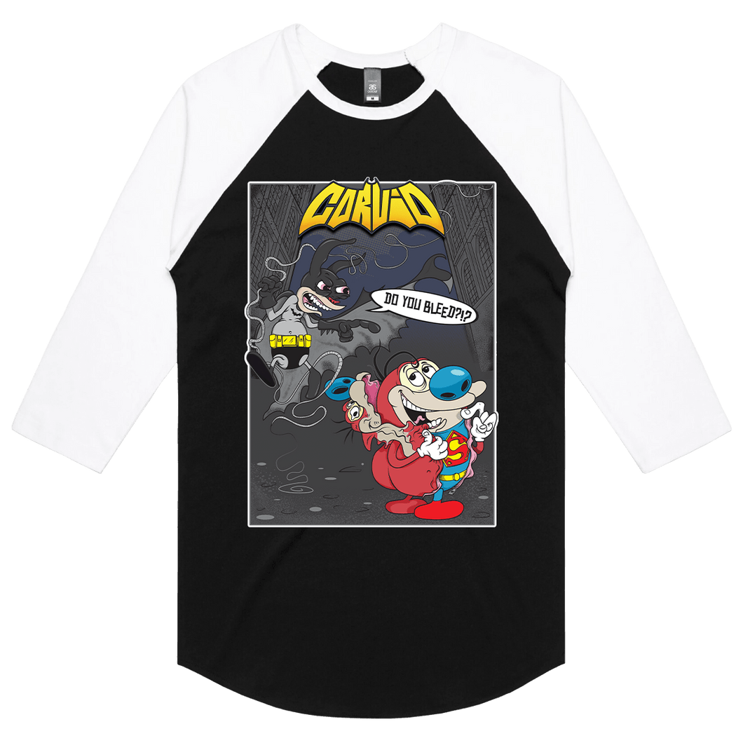 Bat-Ren & Super-Stimpy - 3/4 Sleeve Raglan