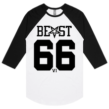 Load image into Gallery viewer, Beast 666 (Black Print) - 3/4 Sleeve Raglan