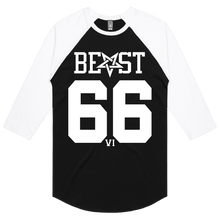 Load image into Gallery viewer, Beast 666 (White Print) - 3/4 Sleeve Raglan