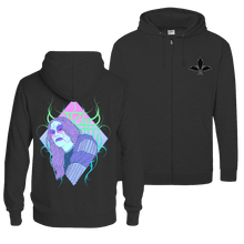 Load image into Gallery viewer, Black Metal Vaporwave - Zip Hoodie (Front & Back Print)