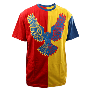 Corvid Culture Harlequin - Oversize Split Tee (Red/Yellow) - DEFECT
