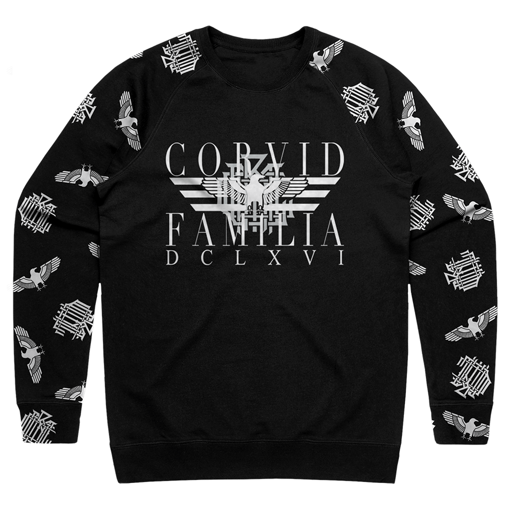 Corvid Culture Family - Raglan Sleeve Sweatshirt (black)