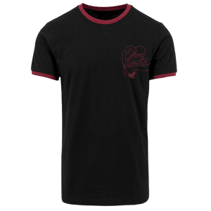 Corvid Culture Family - Ringer Tee (Black and Burgundy)