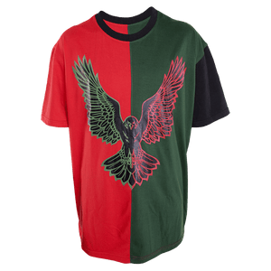 Corvid Culture Harlequin - Oversize Split Tee (red/green) - DEFECT