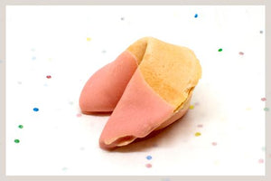 50 Strawberry White Chocolate Dipped Fortune Cookies